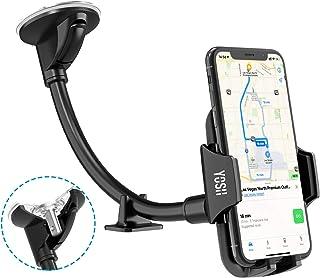 YOSH Soporte Móvil Coche para Parabrisas, Soporte Universal con Brazo Ajustable para iPhone 11 X 8 7 6s Samsung S10 S9 A10 Huawei P30 P20 Lite Xiaomi Mi 9 Redmi Note 8 etc. o Dispositivos GPS