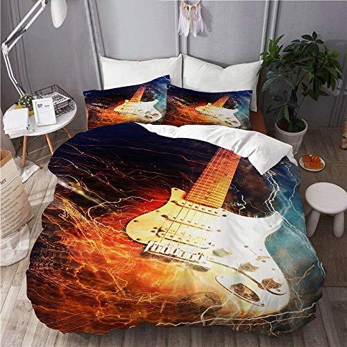Funda nórdica, Guitarra eléctrica rodeada con el Juego de Funda nórdica Lightnings,...