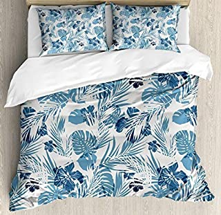 wanxinfu Leaf 3 Piece Bedding Set Duvet Cover Set Queen Size, Island Ocean Beach Sea Inspired Hawaiian Flowers Palm Tree Leaves Art Print, 3 Pcs Comforter Cover Set with 2 Pillow Cases