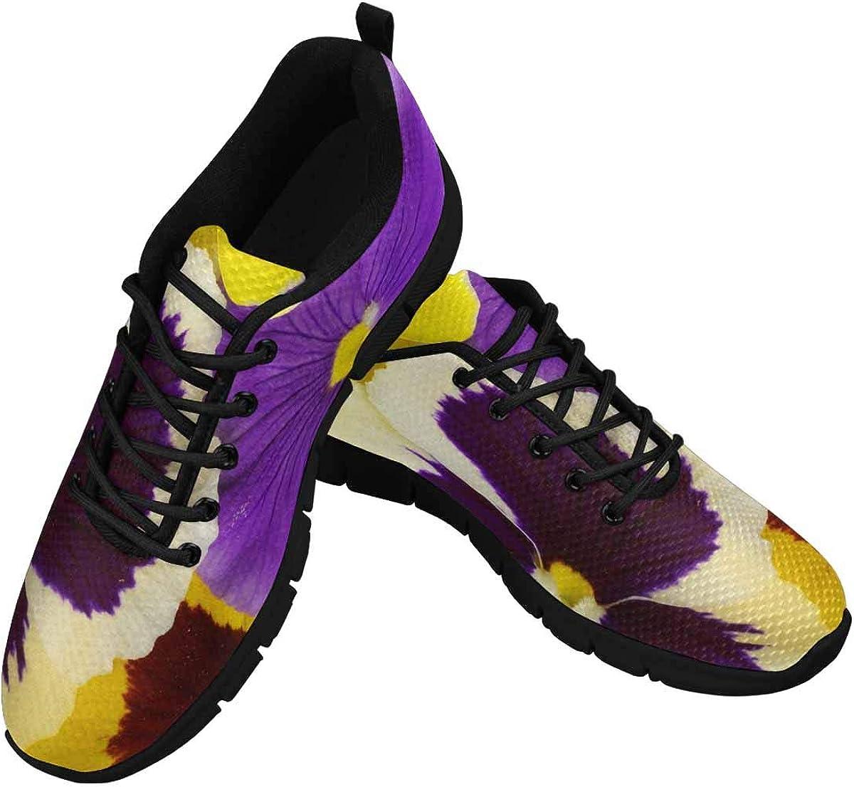 INTERESTPRINT Purple Yellow Flowers Women's Athletic Walking Running Sneakers Comfortable Lightweight Shoes