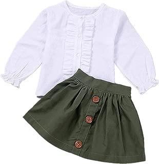 Toddler Baby Girls Spring Outfit Long Sleeve Ruffles Shirt Buttons A-line Skirt Clothing Set School Uniform Dress