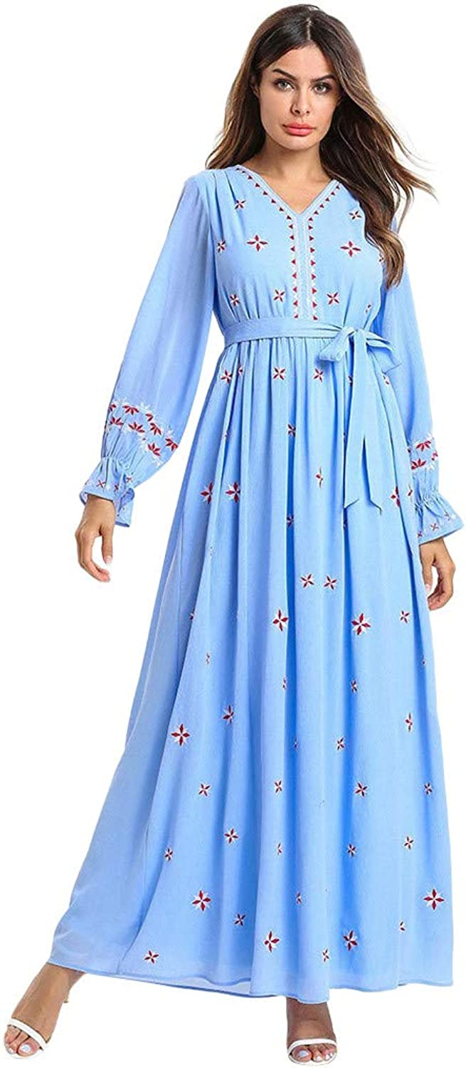 WELCOMEUNI Muslim Women Long Maxi Dress Robe Embroidery Abaya Islamic Dubai Kaftan Ramadan