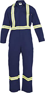 Flame Resistant FR High Visibility Hi Vis Coverall - 88% C/12% N (Small, Navy Blue)