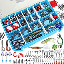Duuv 308/192PCS Fishing Accessories Kit, Tackle Box with Tackle Included Jig Hooks,Bullet Weights,Sinker Slides,Bobbers,Freshwater Saltwater Fishing Set Tackle Box Kit