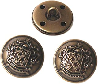 YaHoGa 10PCS 1 Inch (25mm) Antique Metal Buttons with Shank for Blazers, Suits, Jackets (Antique Brass)