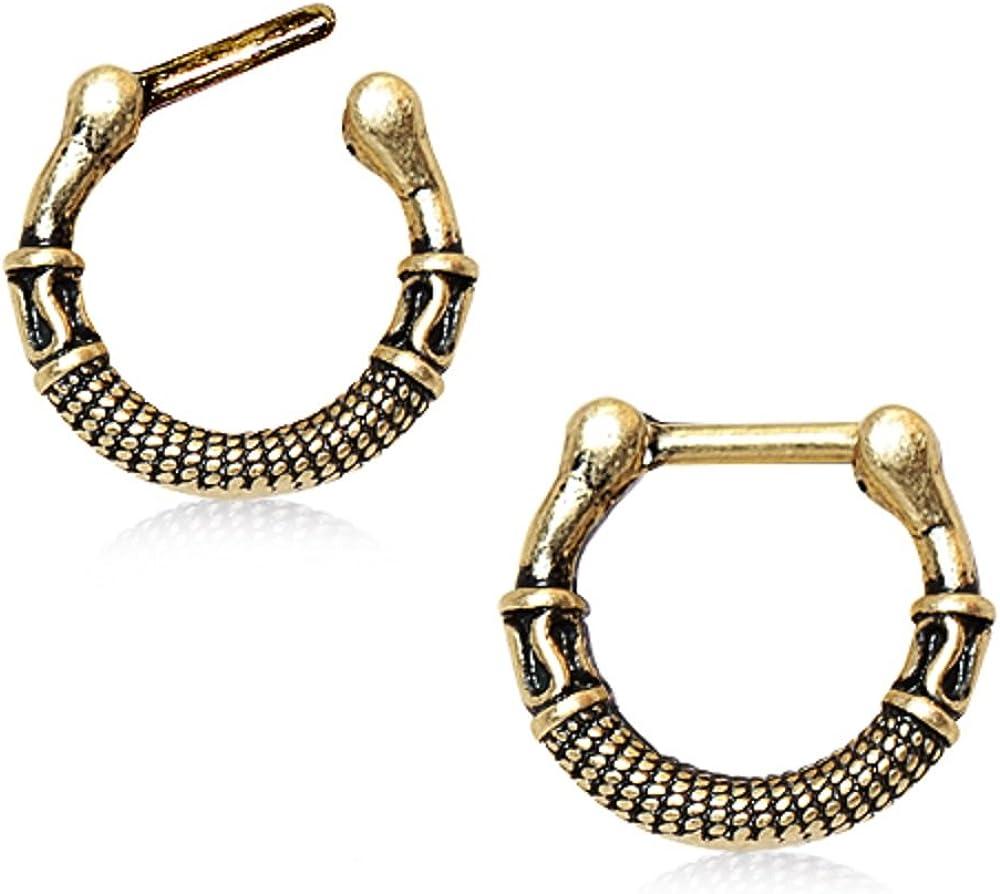WildKlass Jewelry Gold Plated Greek Inspired Antique Septum Clicker
