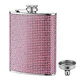 FYL Hip Flask for Liquor, Pink Glitter Flask...