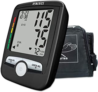 HoMedics, Upper Arm Blood Pressure Monitor | Easy One-Touch Operation, 180 User Memories (90 Per User) | One-Size Fits Most Cuff