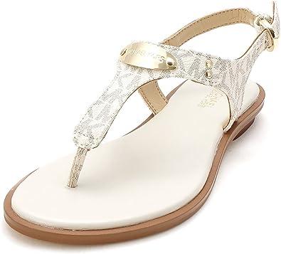 MICHAEL Michael Kors Womens Plate Thong Open Toe Casual Slide, Vanilla, Size 5.0
