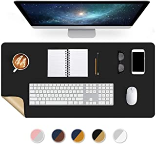 Office Desk Pad Blotter Protector 16 X 32 Inch PU Leather Desk Mats on Top of Desks Laptop Computer Gaming Under Keyboard Mouse Pad Waterproof Desktop Cover Writing Mat Dual-Sided Black/Golden Brown