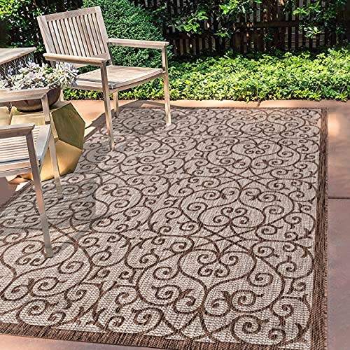 JONATHAN Y Madrid Vintage Filigree Textured Weave Indoor/Outdoor Taupe/Espresso 3 ft. x 5 ft. Area Rug, Classic,EasyCleaning,HighTraffic,LivingRoom,Backyard, Non Shedding