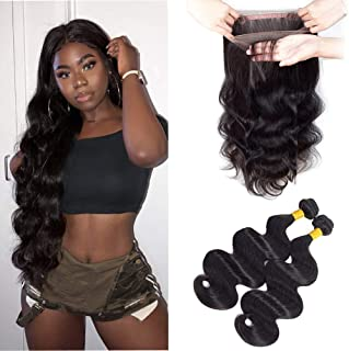 Sweetie Hair 360 Lace Frontal With Bundles Brazilian Virgin Hair Lace Frontal With Bundles 8A Unprocessed Brazilian Human Hair Bundles Natural Color 18 20 with 16 Inch