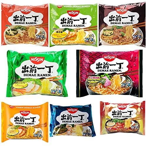 Nissin Demae Instant Noodles Ramen 8 PAQUETES MEZCLADOS - Tonkotsu, pollo, ternera, mariscos, sésamo picante, gambas, salsa de soja de Tokio, pollo con ajo (8 x 100 g)