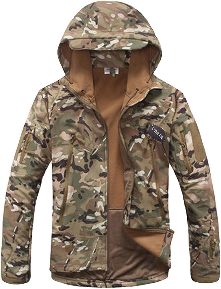 UDRES Men's Fleece Liner Outerwear Hooded Water Resistant Softshell Tactical Jacket