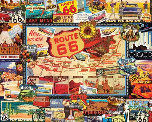 White Mountain 747 Route 66 Puzzle, 1000