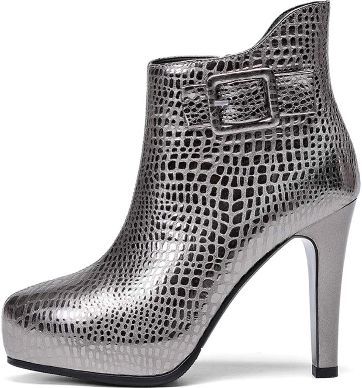 Shiney Women's Leather Plus Cotton Velvet Booties Female Stiletto Heels Side Zipper Belt Buckle Bare Boots