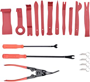 MEAOR 18pcs Auto Trim Removal Tool Set Kit Frosted Door Panel Removal Tool Car Trim Removal Stereo Radio Interior Light Repair Tool Kit
