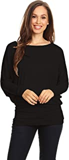 Women's Solid Casual Long Dolman Sleeve Loose Fit Knit Tunic Top TeeDress/Made in USA