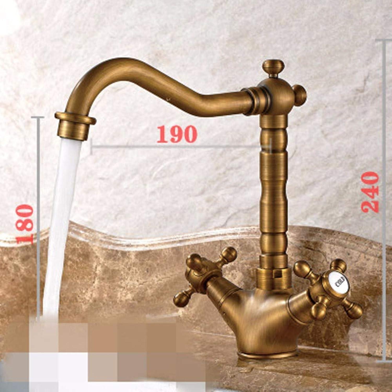 LHbox Das Badezimmer Waschtisch Armatur Continental Antike Antike Warmes und Kaltes Wasser x Klopfen, Niedrige, 810F-2