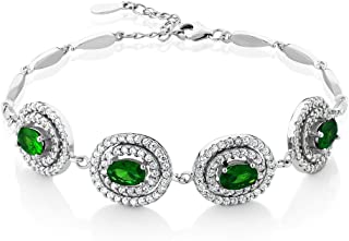 Gem Stone King Stunning 4.00 Ct Simulated Emerald Sterling Silver 7inches Bracelet with 1inches Extender