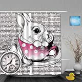 Ngkaglriap Shower Curtain,Animal Clock Fairytale Cute Rabbit in Coffee Cup Ancient Writing,Cloth Fabric Bathroom Decor Set with Plastic Hooks,Included-72 x 72 inches