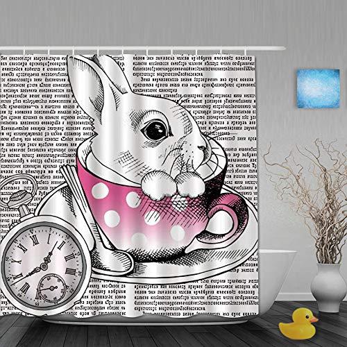 Ngkaglriap Duschvorhang,Tieruhr-Märchen-süßes Kaninchen in der Kaffeetasse Altes Schreiben,Bad Vorhang Waschbar Bad Vorhang Polyester Stoff mit 12 Kunststoffhaken 180x180cm