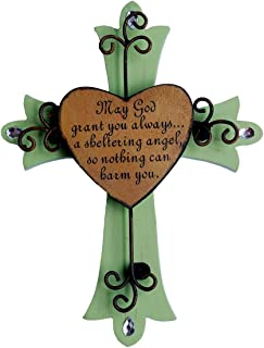 Unique Wooden Crucifix With Antiqued Metal Decorative Heart And Inspirational Prayer Inscribed On Cross (Design 1)