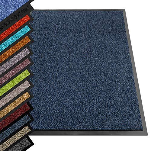 etm® Schmutzfangmatte - Note 1,6: Sieger Preis-Leistung - Fußmatte in vielen Größen - Türmatte Fußabstreifer für Haustür innen und außen (Blau-Schwarz, 90x120 cm)