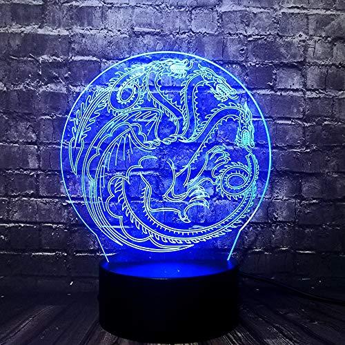 3D nachtlampje spel draak logo 7 kleuren afstandsbediening touch slaapkamer lamp hoofddecoratie, kinderen kerstcadeau