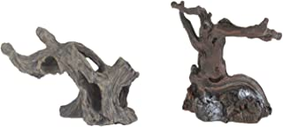 Emours Aquarium Fake Resin Spider Driftwood Branches Cave for Geckos Reptiles Fish Tank Aquascape Decor, 2 Piece Set Small Medium Size