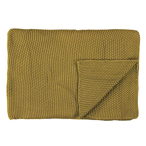 Marc O'Polo Nordic Knit Plaid, 100% Baumwolle, Oil Yellow, 130 x 170 cm