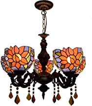 Stained Glass lamp, Tiffany Living Room Ceiling Lamp Mediterranean Blue Retro Sunflower Crystal pendent lamp Tiffany Stain...