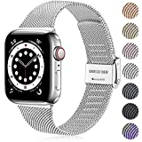 Ouwegaga Correa de Repuesto Compatible con Apple Watch Correa 38mm 40mm 42mm 44mm SE, Clásica Correa de Metal de Acero Inoxidable Compatible con iWatch Series 6 5 4 3 2 1, 42mm/44mm Plata