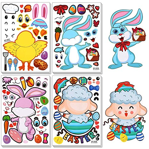 24 vellen Pasen stickers Bulk DIY maken je eigen stickers Paasei haasjes kuiken stijl decoraties party Favor Games Supplies