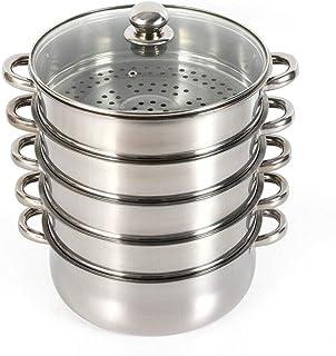 WUPYI2018 - Hervidor de vapor de acero inoxidable, 4 recipientes para cocinar al vapor, con tapa de cristal, acero inoxidable, 28 cm