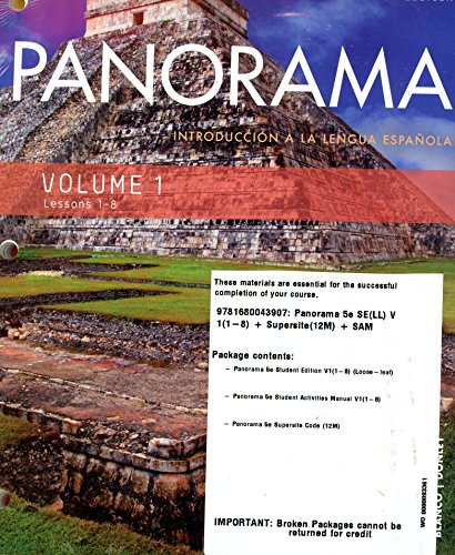 Panorama 5th Ed Loosleaf Vol 1 (Chp 1-8) w/ Supersite(12M) and Student Activities Manual