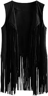 JKLING Women Sleeveless Open Front Cardigan Stylish Plus Size Faux Suede Ethnic Tassels Fringed Slim Fitted Vest Black,  Small