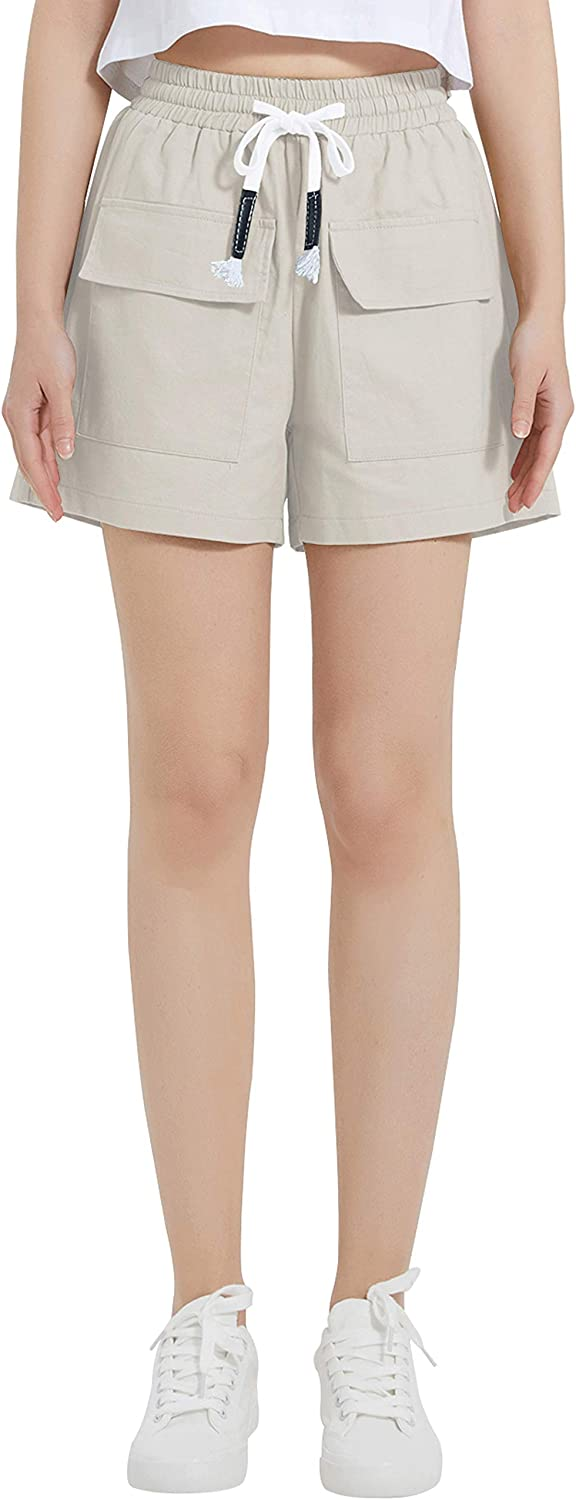 XinYangNi Women's Cargo Excellence Excellence Shorts Elastic C Drawstring Waist Cotton