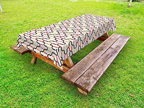 ABAKUHAUS retro Tafelkleed voor Buitengebruik, Vintage jaren '60 Curvy, Decoratief Wasbaar Tafelkleed voor Picknicktafel, 58 x 104 cm, Veelkleurig