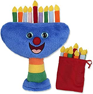 AJI Musical Plush Hanukkah Menorah with Removable Candles and Storage Pouch, Plays 2 Songs