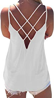Hount Women's Summer Spaghetti Strap Shirts Blouse Criss Cross Backless Cami Tank Tops