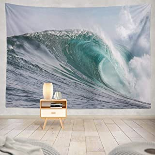 KJONG Wave Wall Tapestry, Waves Sea Water Big Wave Surf Town Wall Tapestry 80X60 Inches Wall Hanging Tapestry Wall Art for Bedroom Living Room, Waves Sea Water