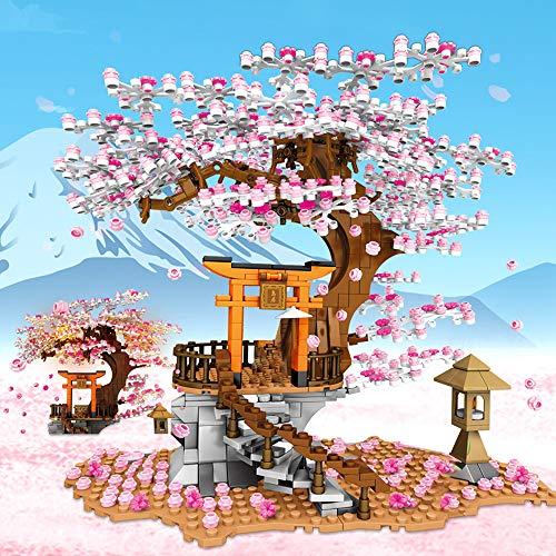 RuiDaXiang Leuchtendes Gebäudemodell Baukasten Bausatz Japanische Kirschbaum Baumhaus–Inari-Schrein Konstruktionsspielzeug ab 10 Jahren für Jungen/Mädchen oder Erwachsenen(1103 Stück)