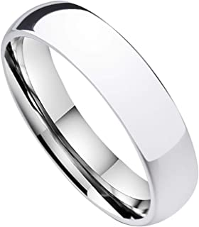 FlameReflection Tungsten Carbide 2mm 4mm 6mm 7mm 8mm Classic High Polished Domed Men Women Wedding Band Ring Engagement Bands Custom Engraving Gold or White Gold Plated