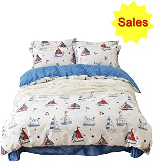OTOB Kids Cartoon Bedding Duvet Cover Queen Sailboat Print Full Bed Sets 100% Cotton with Comforter Cover Zipper Ties for Girls Boys Toddler Teens, Soft Reversible Bedding Sets Blue White, Full/Queen