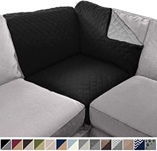 Sofa Shield Original Patent Pending Reversible Sofa Corner Sectional Protector, 30x30 Inch, Washable Furniture Protector, 2 Inch Strap, Sectional Corner Slip Cover for Pets, Dogs, Kids, Black Gray