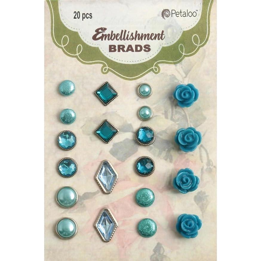 PETALOO Embellishment Brads 20/Pkg-Teal