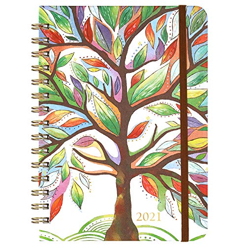 2021 Planner - Weekly & Monthly Planner with Tabs, 6.5' x 8.5', Jan. - Dec. 2021, Hardcover with Back Pocket + Thick Paper + Banded, Twin-Wire Binding - Watercolor Tree