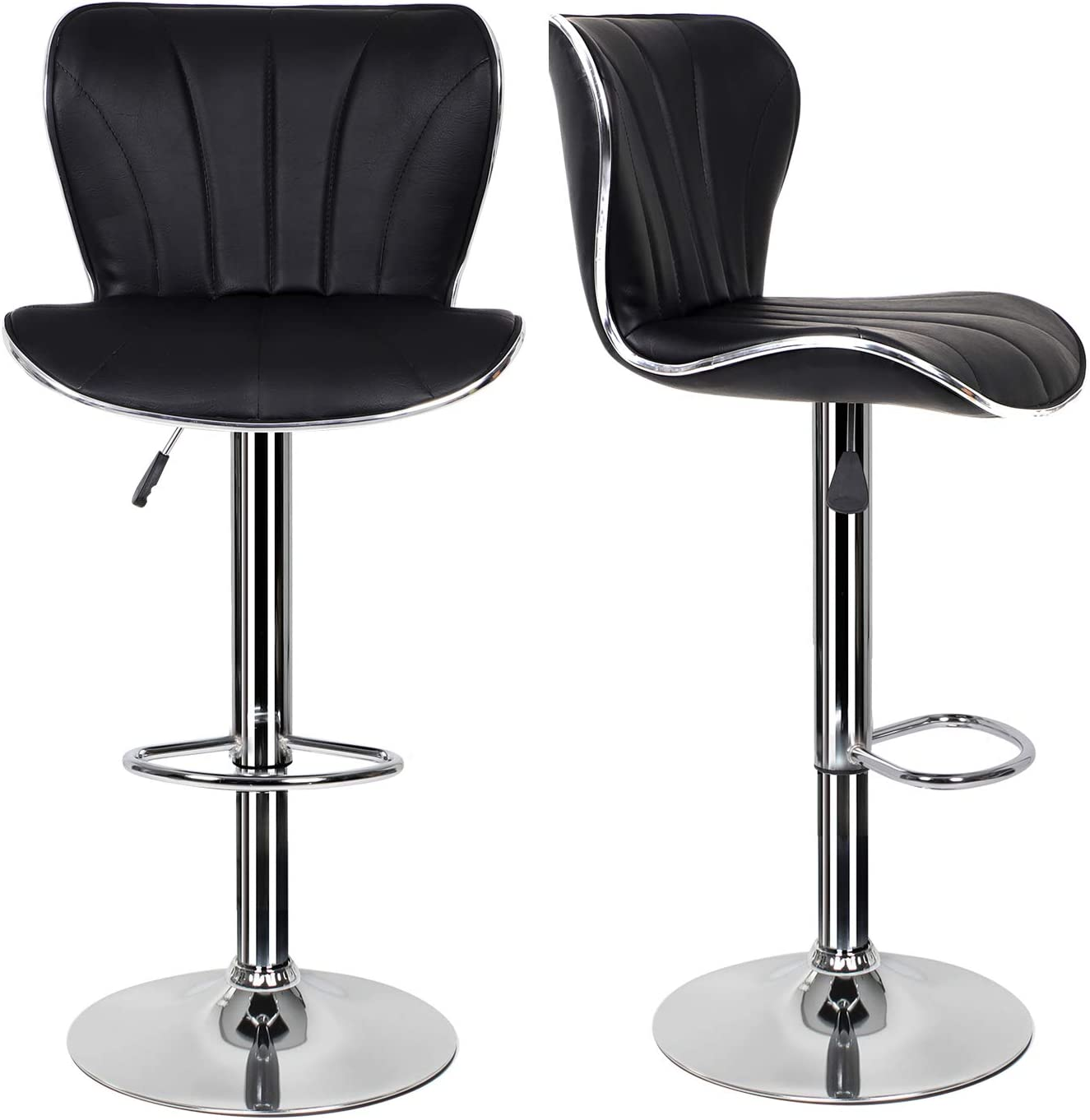 EUCO Pair of Black Bar Stools,Breakfast Bar Stool with Padded  Backrest&Chrome Footrest Swivel Gas Lift Elegant Leather Bar Stool for  Kitchen/Breakfast ...