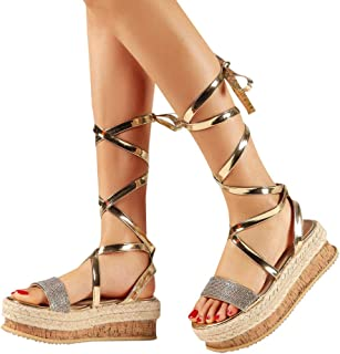 709f6f5bf59 BEAUTYVAN Ladies Fashion Summer Lace Up Strappy Mid-Calf Gladiator Sandals  Summer Dress Wedges Shoes